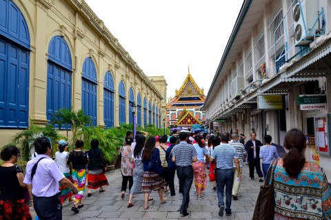 The crowds can get far far worse than this. Go early. Photo taken in or around The Grand Palace, Bangkok, Thailand by David Luekens.