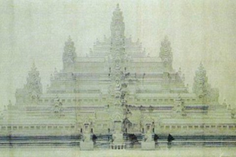Baphuon, as imagined by Lucien Fournereau in 1889. Photo taken in or around Baphuon, Angkor, Cambodia by Nicky Sullivan.