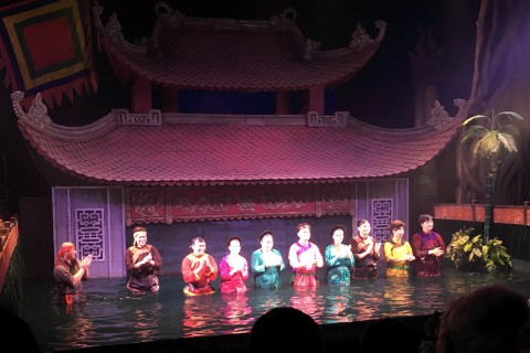 The waterproof masters emerge. Photo taken in or around Thang Long Water Puppets, Hanoi, Vietnam by Samantha Brown.