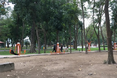 Locals getting in some exercise. Photo taken in or around Thong Nhat Park, Hanoi, Vietnam by Samantha Brown.