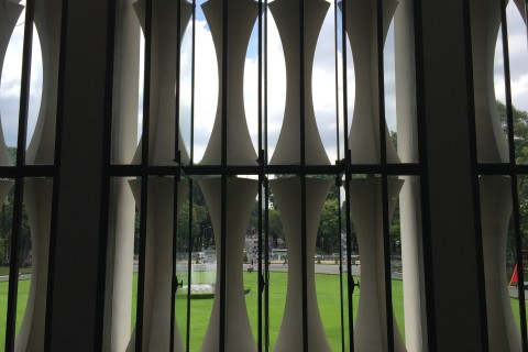 Even the window styling is unusual. Photo taken in or around Reunification Palace, Ho Chi Minh City, Vietnam by Cindy Fan.