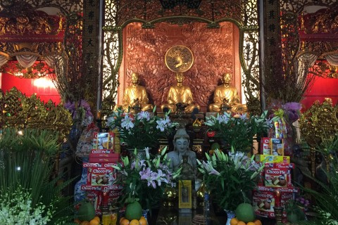 The interior is not understated. Photo taken in or around Vinh Nghiem Pagoda, Ho Chi Minh City, Vietnam by Cindy Fan.