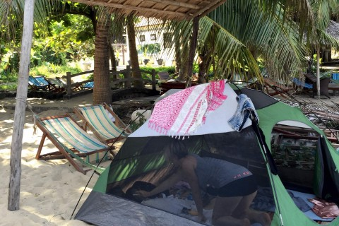 A tent set-up at Cham Restaurant on Bai Chong Beach. Photo taken in or around Cham Island, Hoi An, Vietnam by Cindy Fan.