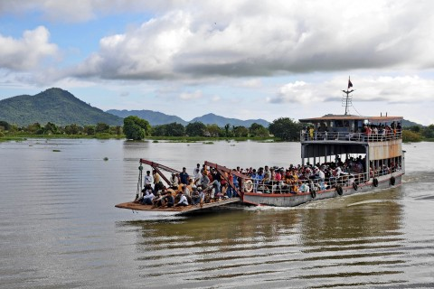 The ferry to Kompong Leaeng. Photo taken in or around Kompong Leaeng and the ancient temples, Kompong Chhnang, Cambodia by Mark Ord.