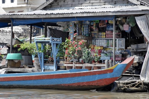 A typical floating shop. Photo taken in or around Floating village boat tour, Kompong Chhnang, Cambodia by Mark Ord.