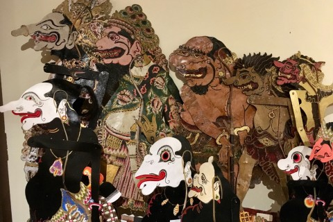 Wayang kulit at the ready. Photo taken in or around Dance and Drama in Ubud, Ubud, Indonesia by Sally Arnold.