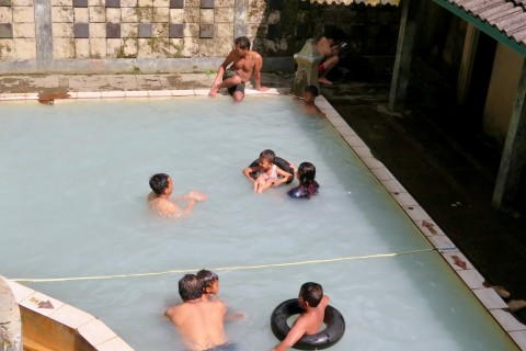 Hot spring tubing. Photo taken in or around Candi Gedong Songo, Semarang, Indonesia by Sally Arnold.