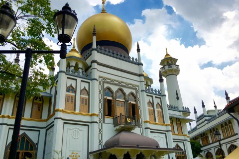 The beautiful Sultan Mosque or Masjid Sultan. Photo taken in or around Sultan Mosque (Masjid Sultan), Downtown Singapore, Singapore by Sally Arnold.