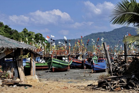 Fishing fleet at the ready. Photo taken in or around Maungmakan and surrounding beaches, Dawei, Burma_myanmar by Mark Ord.